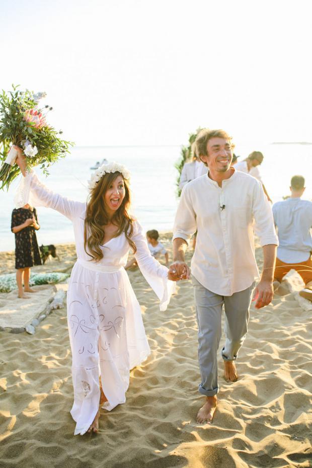 Bohemian beach wedding in Greece