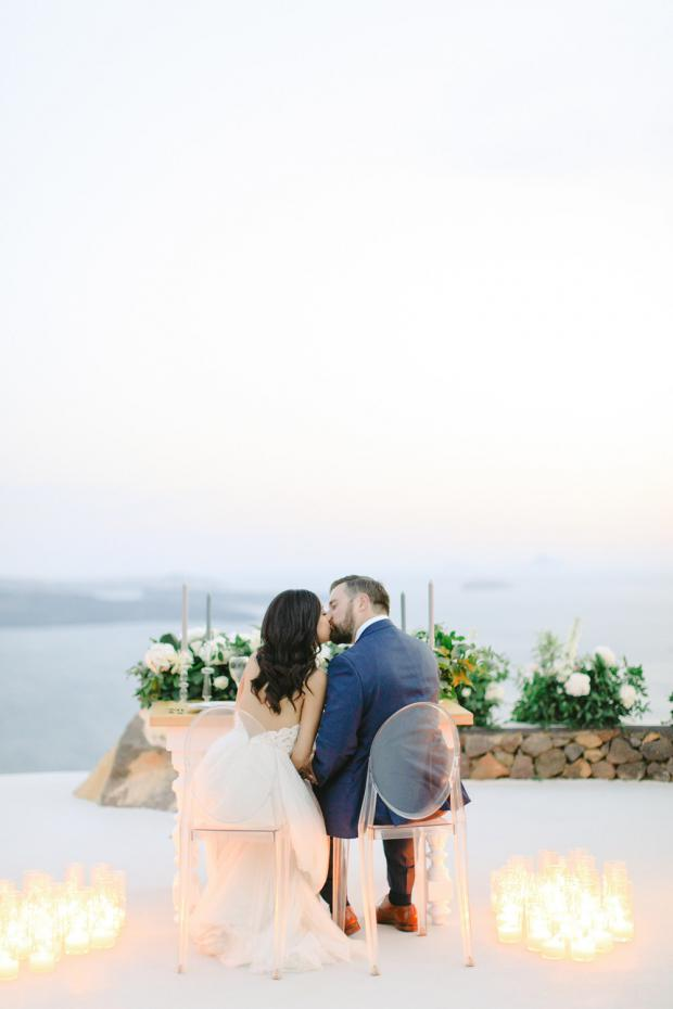 Candle lit dinner- Greece elopement