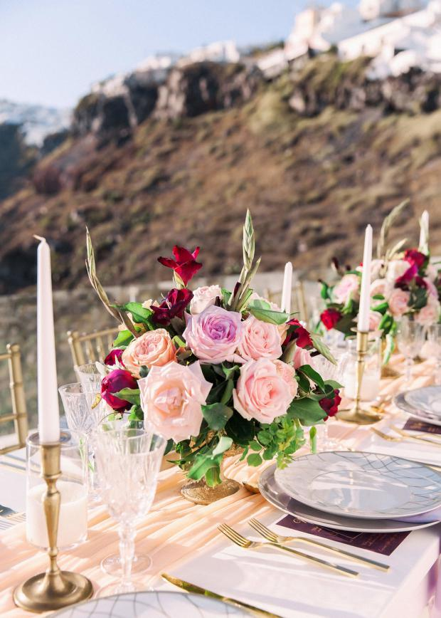 pink, peach and burgundy wedding
