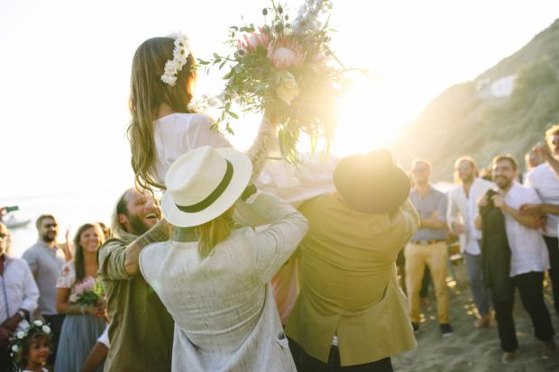 Bohemian beach wedding in Greece