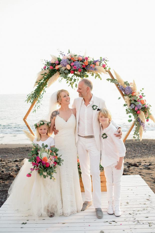 Beach wedding in Greece- Hexagonal arch