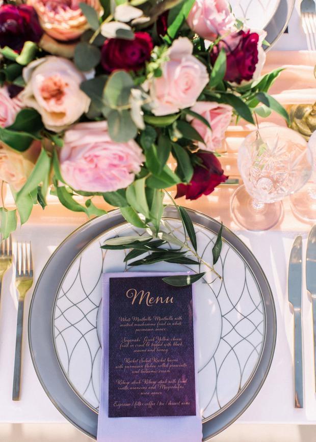 wedding menu in burgundy