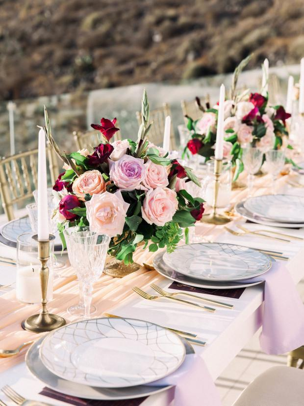 pecah, pink and burgundy tablescape