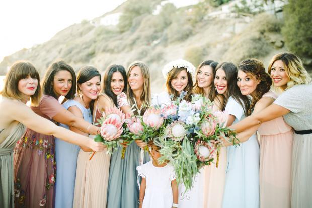 King protea bridesmaids bouquet