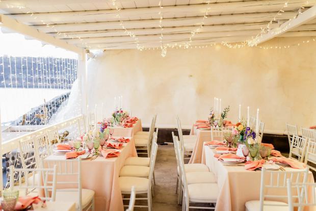 Beach wedding reception in Greece