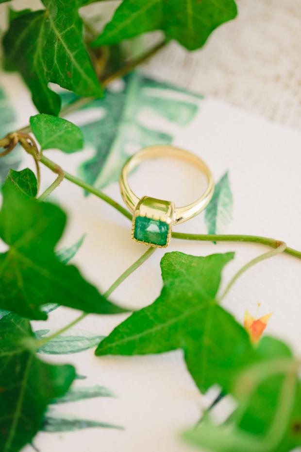 Emerald wedding ring- Pantone Greenery