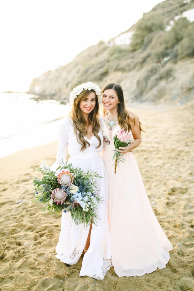 Bohemian wedding in Anafi- Bride and maid of honor