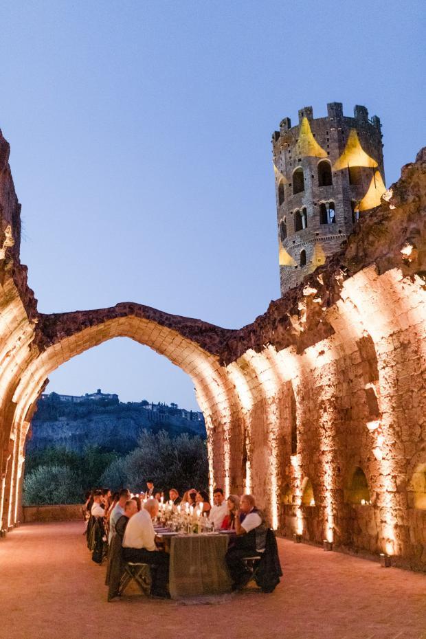 Modern wedding reception at an Italian Abbey
