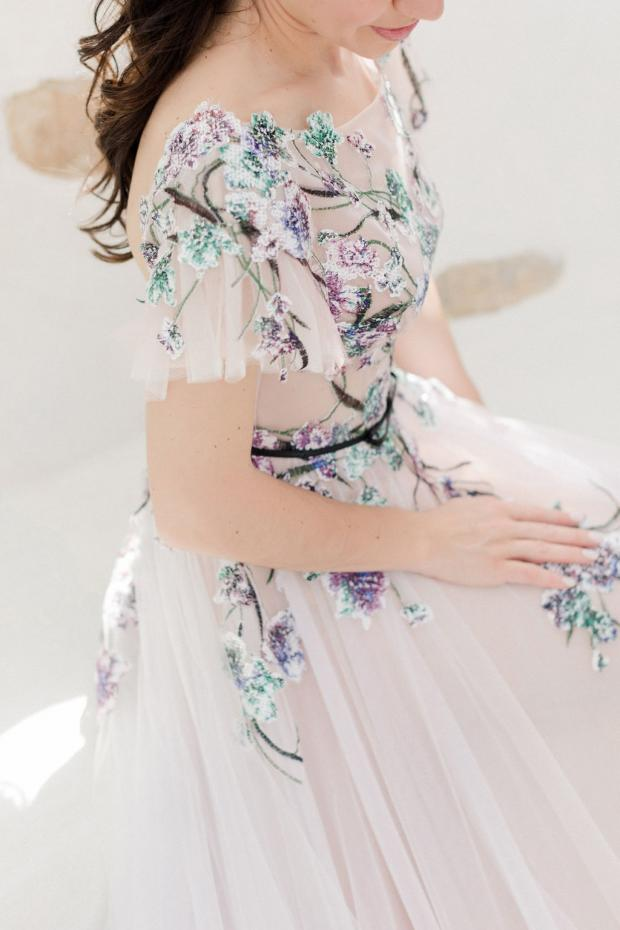 Blush wedding dress with sequinned flowers- Madebride