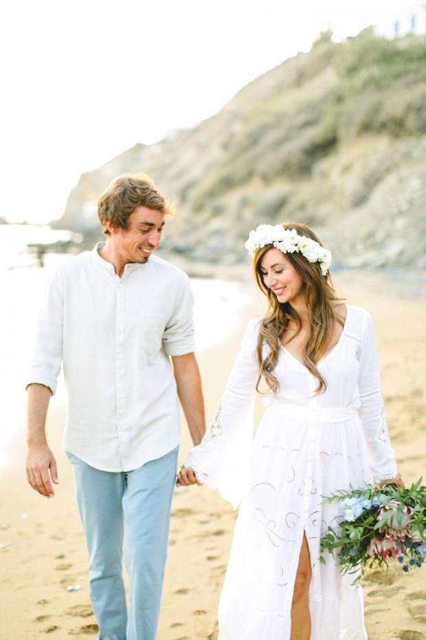 Bohemian destination wedding in Greece - Flower crown