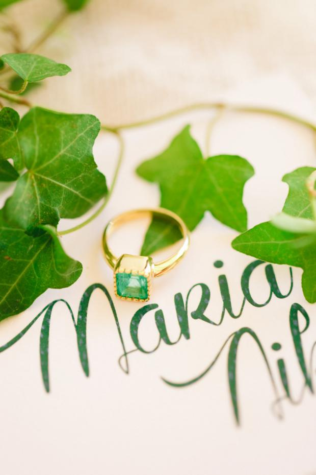 Emerald engagement ring- Pantone Greenery