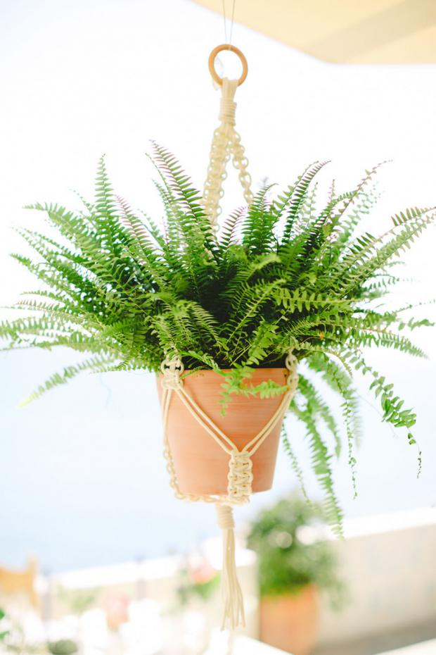Greenery wedding - hanging macrame pots