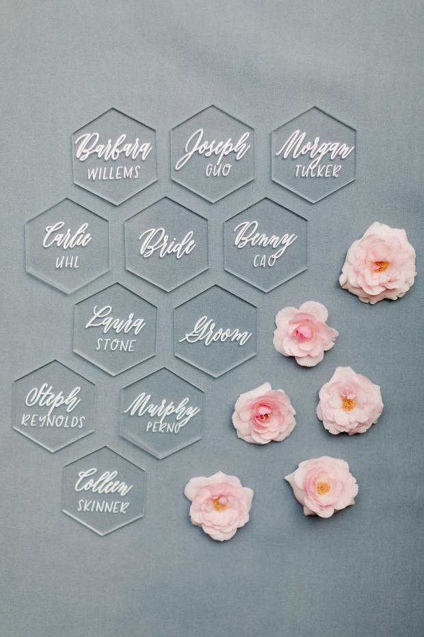 wedding stationery- plexiglass place cards