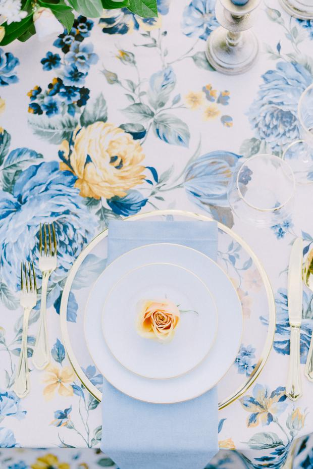 Wedding tablescape- flower tablecloth