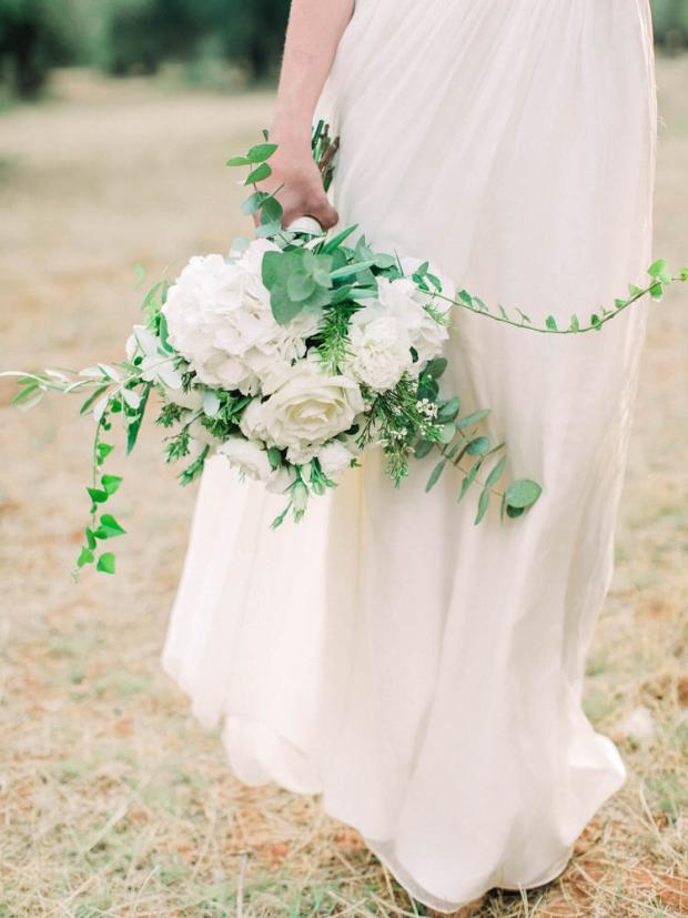 White and greenery bouquet with hydrangeas and peonies
