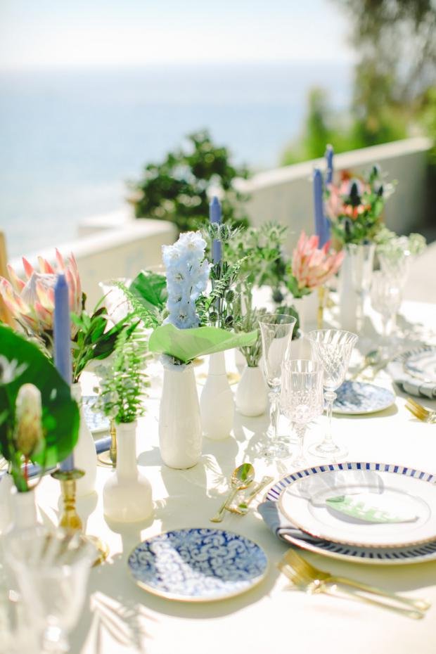 Greenery blue and pink wedding tablescape