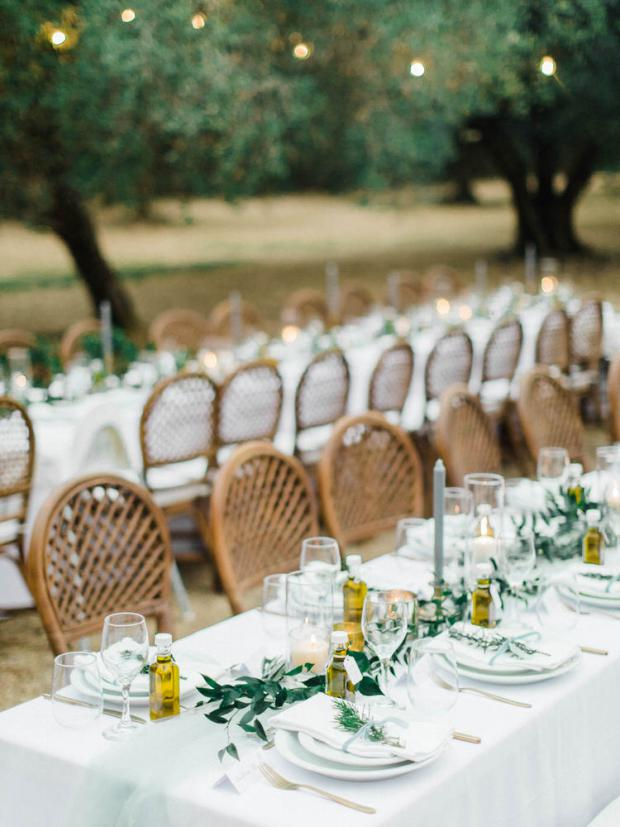 Botanical wedding in a Olive tree farm in Kefalonia Greece-tablescape