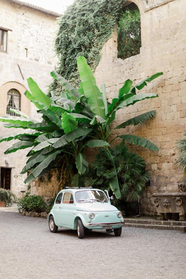 Wedding at La. Badia di Orvieto Italy- Fiat 500