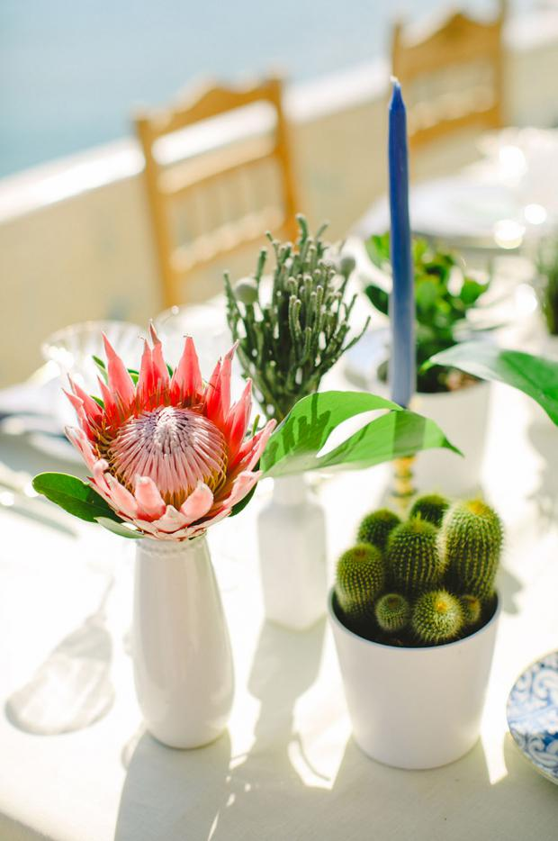 King protea centrepiece- wedding in Greece- wedding in Greece