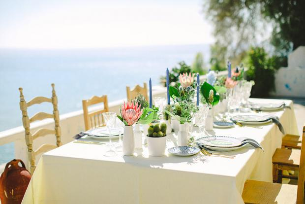 Bohemian wedding tablescape in Greece