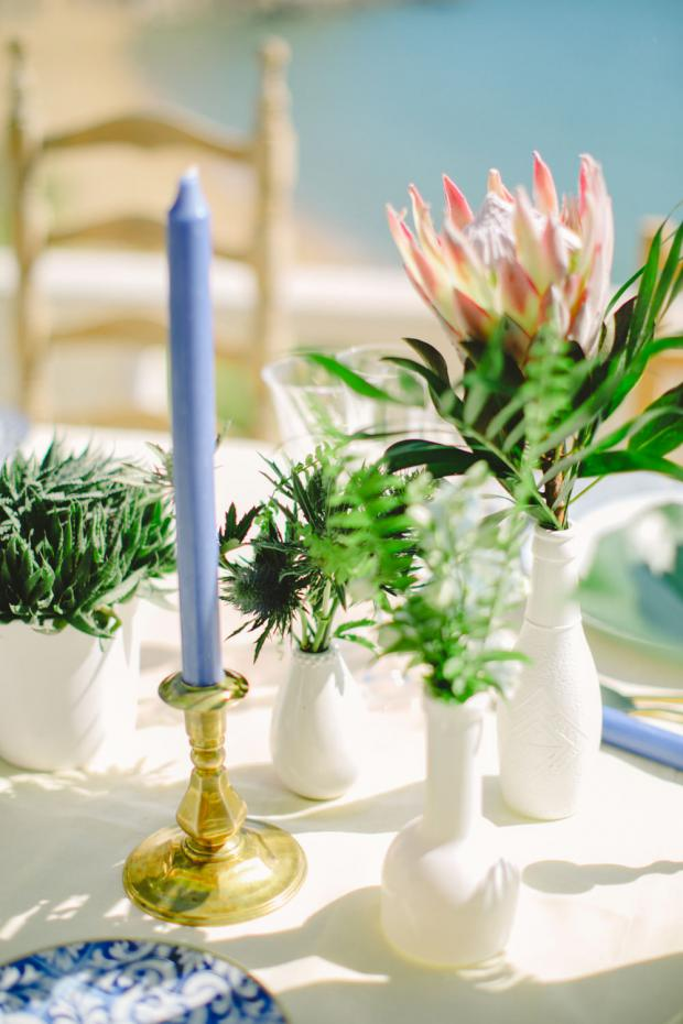 Blue and pink tablescape with king  proteas