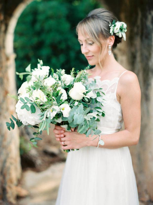 White wedding bouquet & crown- Wedding in Greece