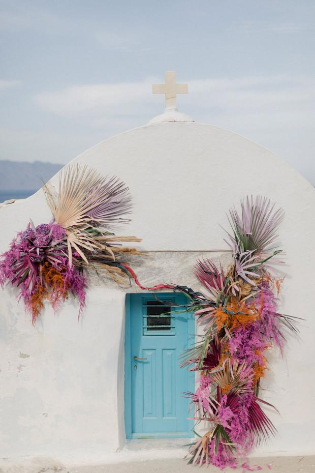 Colourful dried flowers wedding in Amorgos, Greece