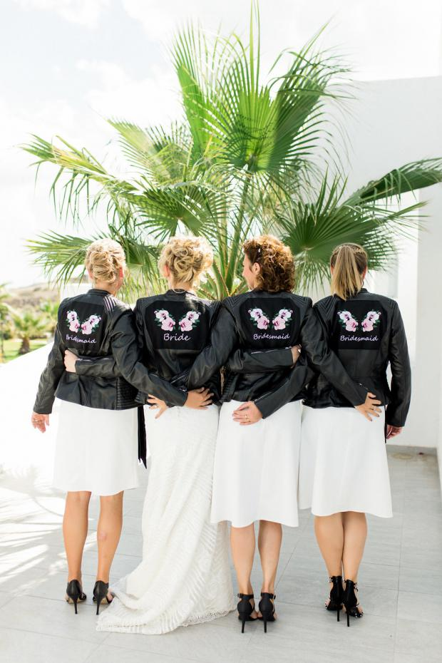 Bride and bridesmaids in leather jackets