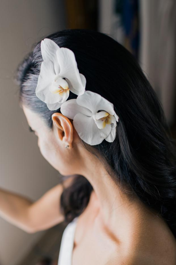 Bridal hairstyle- white orchids