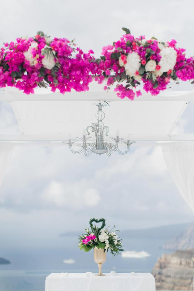 bougainvillea centrepiece- wedding ceremony in Santorini