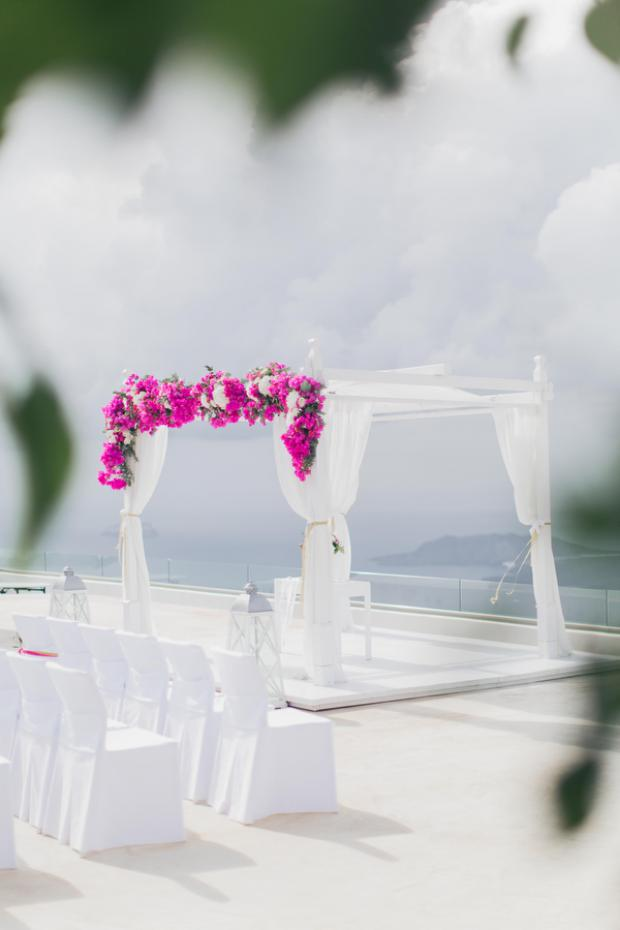 Wedding ceremony decor-bougainvillea