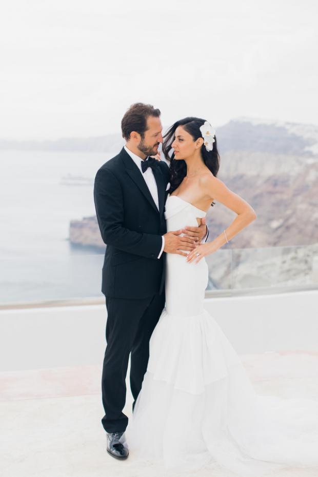 Bride in Vera Wang dress-Santorini wedding