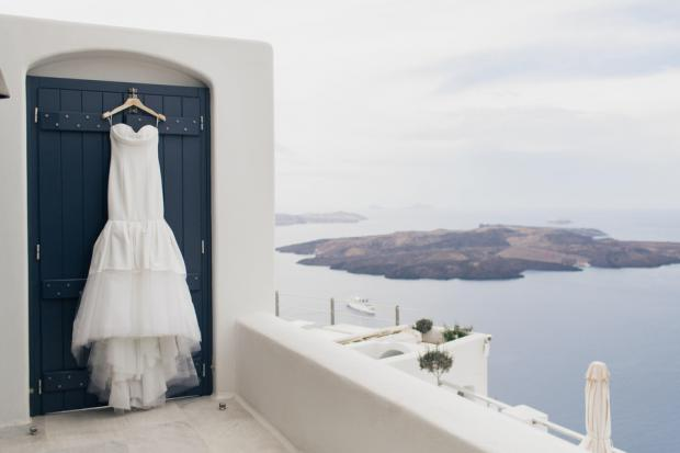 Vera Wang wedding dress- Santorini wedding