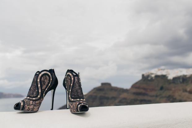 Wedding shoes- Santorini wedding