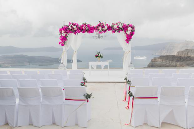 Wedding ceremony decor-bougainvillea-Santorini Gem
