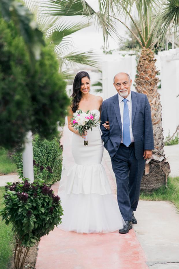 Bride & father walking down the aisle-Santorini Gem