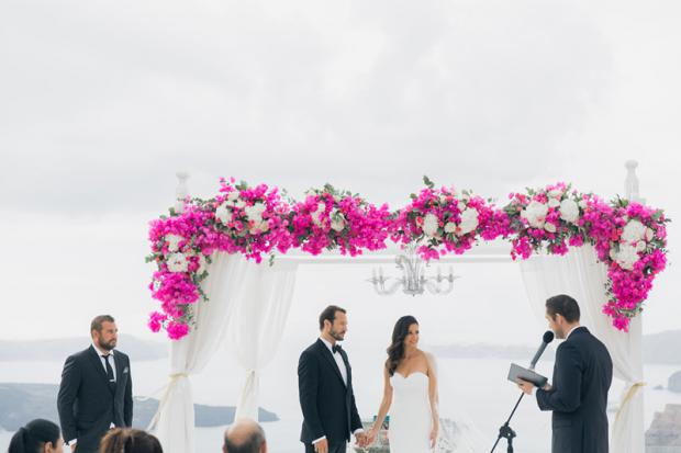 Destination wedding in Santorini-bougainvillea wedding