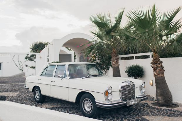 Vintage wedding car-Santorini