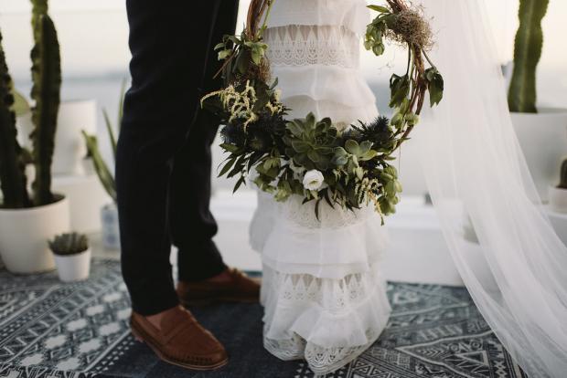 Succulent wreath instead of a bouquet