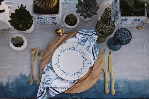 Blue pattern tablescape details