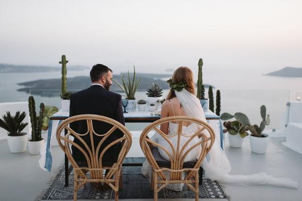 Bohemian cacti wedding in Greece - Romantic dinner