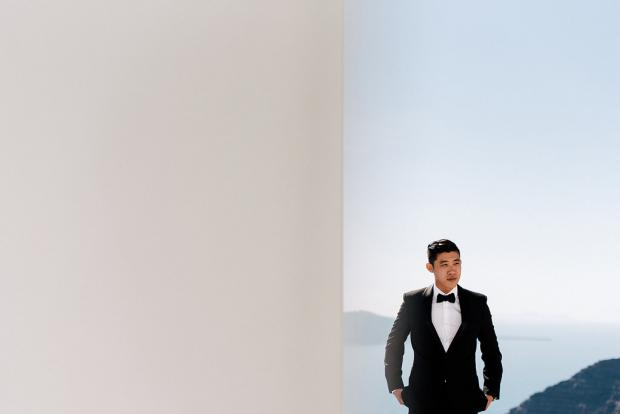 Santorini groom- black tie