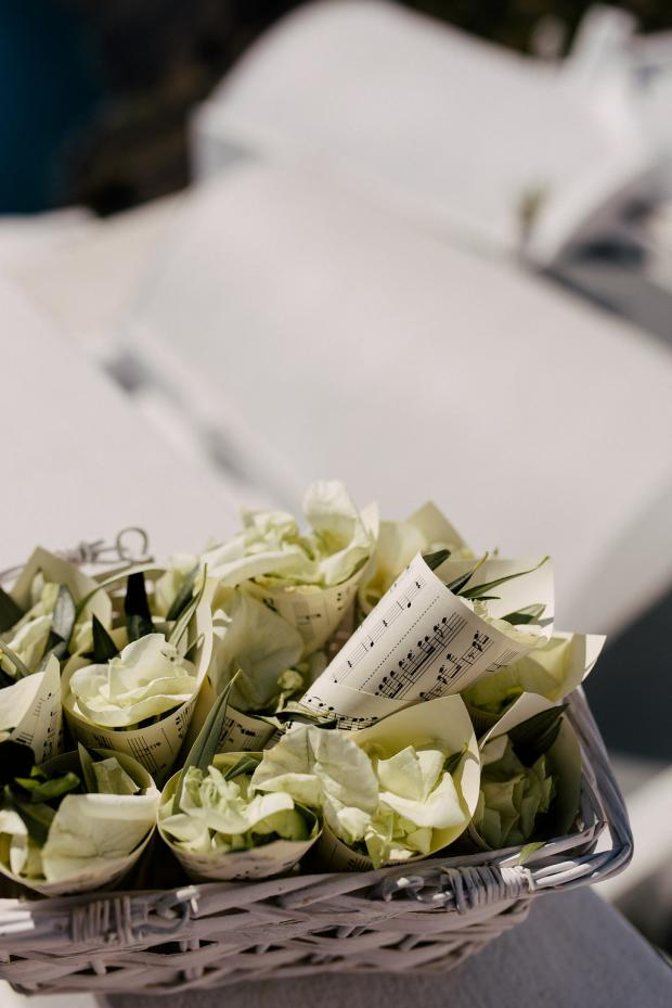 olive leaves and rose petals instead of confetti