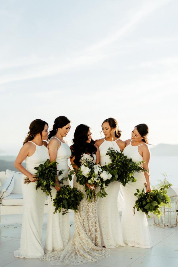 Bridesmaids in white - Wedding in Greece