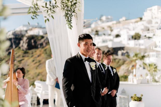 Groom at the altar- Santorini Wedding