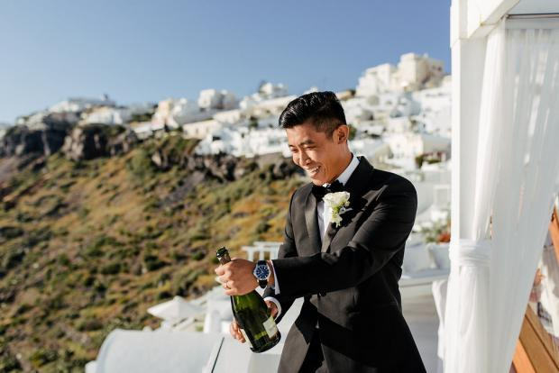 Popping the champagne - Santorini