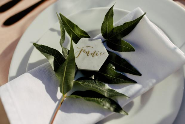 Marble hexagonal place card