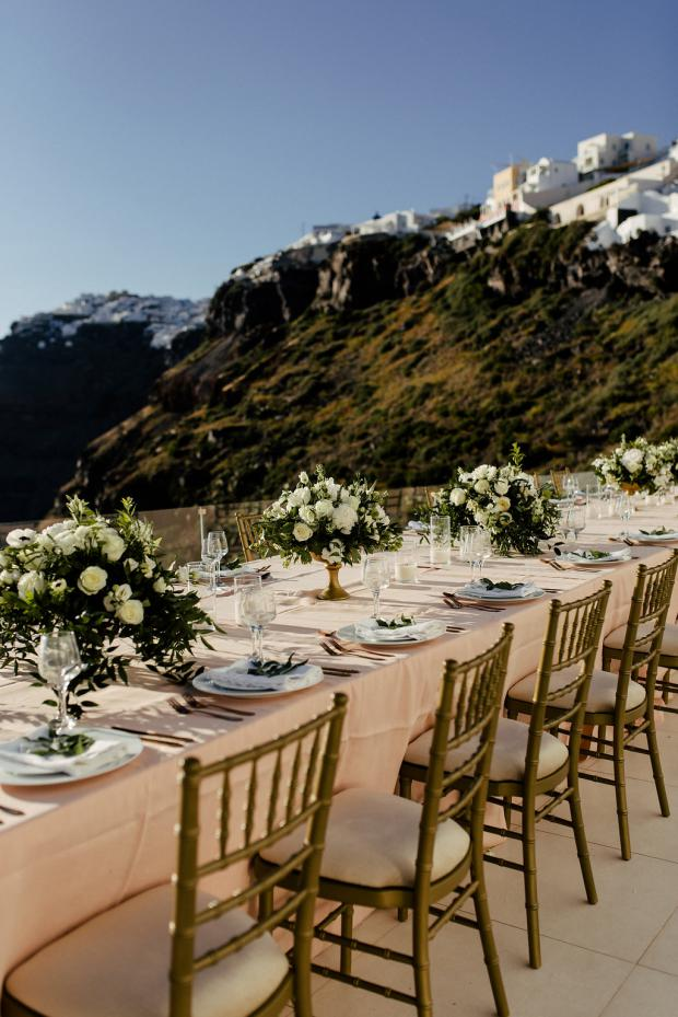 Wedding dinner in Santorini