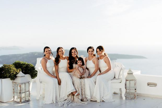 Bridesmaids in white
