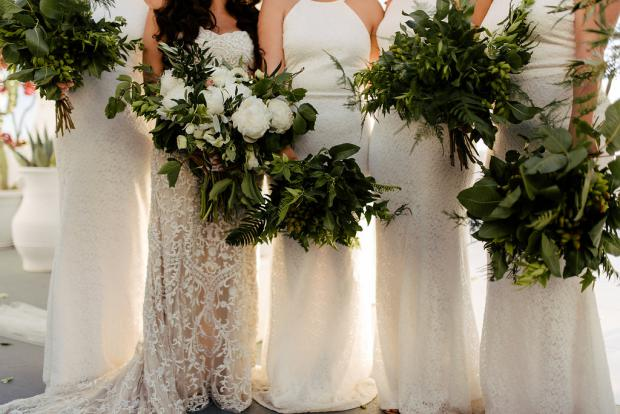 Bridesmaids bouquets greenery only